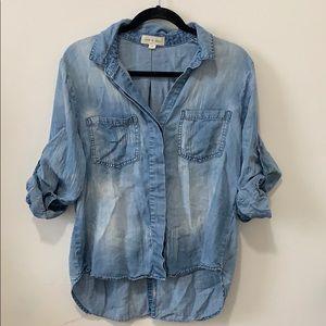 High low cloth & stone button down blouse jean